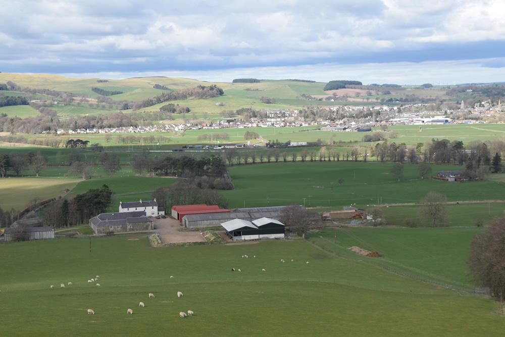 View over farm towards Biggar